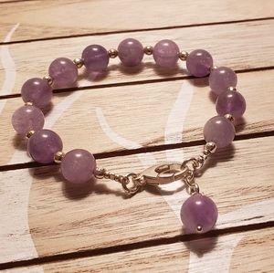 Bracelet Amethyst Lavender and Sterling Silver Bea